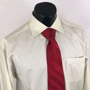Canali Mens Dress Shirt Beige Striped 41 16 Italy